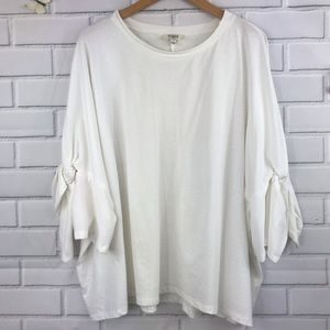 Umgee Off White 3/4 Sleeve High Low Tie Elbow Top